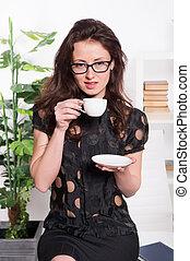 café, corporación mercantil de mujer, trabajando, sentado,...