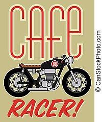 café, corredor, motocicleta, desenho