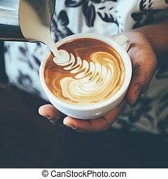 café, couleur art, vendange, latte, tonalité