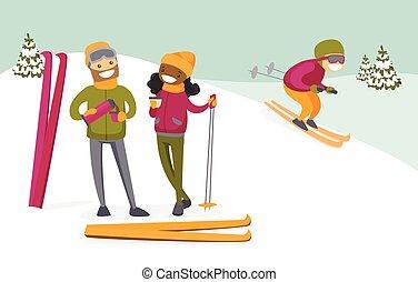 café, couple, multiculturel, recours, boire, ski