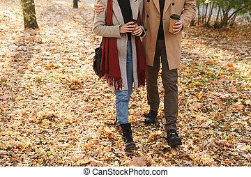 café, couple, parc, marche, tondu, jeune, automne, quoique, plat à emporter, portrait, boire