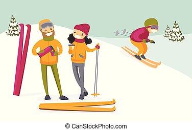 café, couple, resort., boire, ski, caucasien