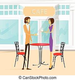 café, couple, rue, table, extérieur, boisson café