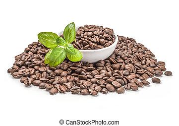 café, coupure, arrière-plan., haricots, sentier, closeup, blanc