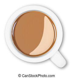 café, coupure, isolé, grande tasse, aérien, path.