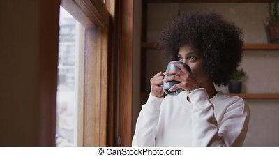 café, course, femme, boire, mélangé