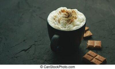 café, crème, fouetté, tasse