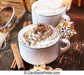 café, crème fouettée