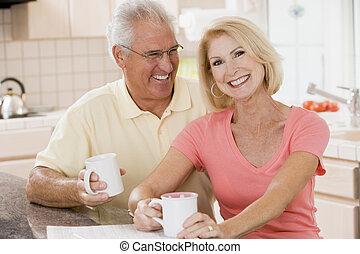 café, cuisine, couple, sourire