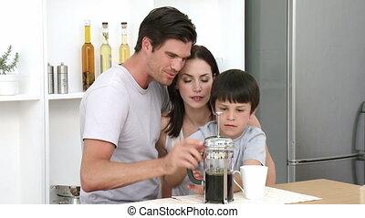 café, cuisine, parents, préparer, fils