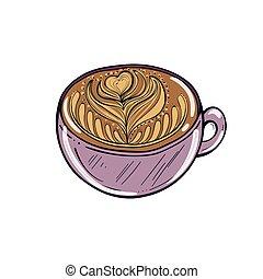 café, cup., illustration, main, vecteur, dessiné