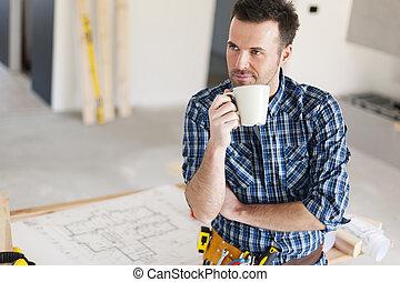 café, délassant, tasse, ouvrier, franc, construction