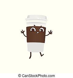 café, danse, tasse, caractère, plastique, sourire., plat à emporter, dessin animé