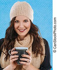 café de bebida, en, un, frío, día
