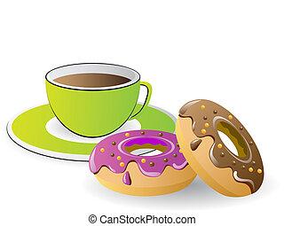 café de té, rosquillas, tiempo