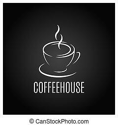 café, desenho, copo, experiência preta, logotipo