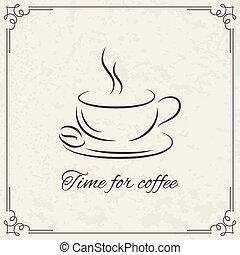café, desenho, para, menu