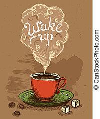 café, despiértese, taza