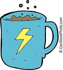 café, dessin animé, grande tasse