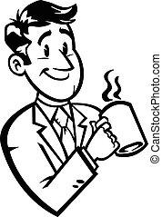 café, dessin animé, homme affaires