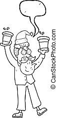 café, dessin animé, parole, tasses, bulle, noël, homme