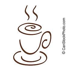café, dessin, tasse