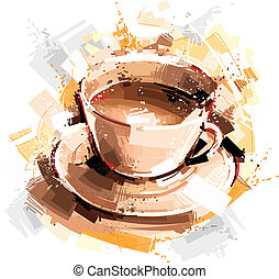 café, digital, tiempo