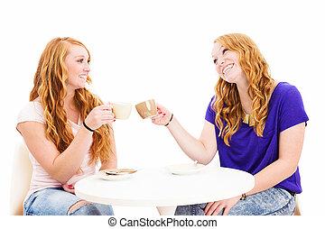 café, dos, anteojos, mujeres, pelirrojo, tintinee, tazas, feliz