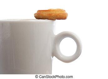 café, e, biscoito