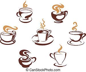 café, e, chá, copos