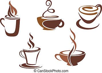 café, e, chá, símbolos, e, ícones