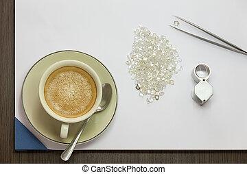 café, e, diamante