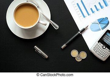 café, e, financeiro, dados