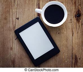 café, e-livre, lecteur