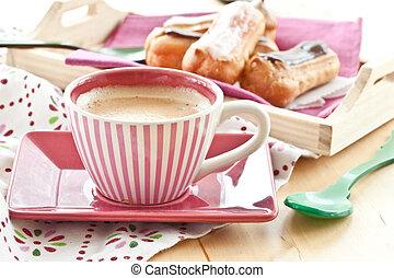 café, e, pequeno, eclairs