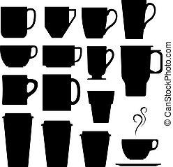 café, e, xícara chá, silhuetas