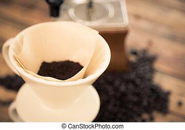 café, efeito, (, imagem, gotejamento, preparação, ),...