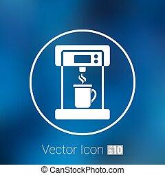 café, elétrico, ícone, monocromático, café, fabricante,...