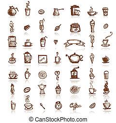 café, elementos, desenho, companhia