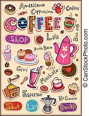 café, elementos, desenho