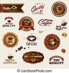 café, elementos, etiquetas