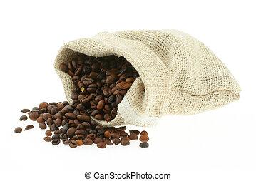 café, em, burlap, sac