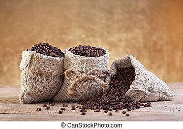 café, em, burlap, sacolas
