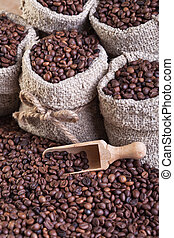 café, em, sacolas