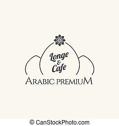 café, emblema, com, asiático, templo, silueta