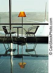 café, en, el, aeropuerto