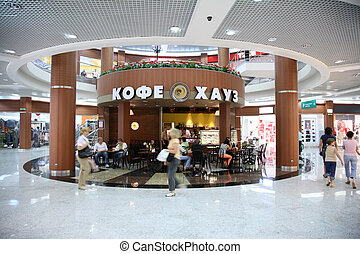 café, en, el, comercial, centro