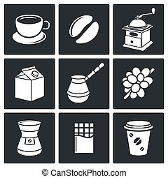 café, ensemble, icône