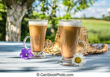 café, ensoleillé, jardin, latte