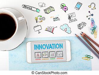 café, escritório, copo, móvel, conceito, inovação, telefone, escrivaninha, branca